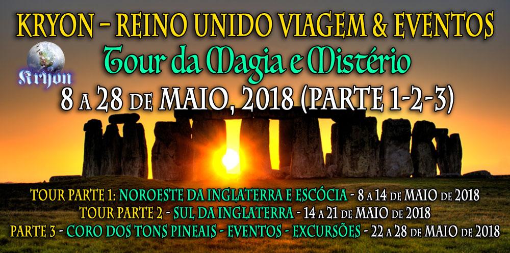 Kryon Tour Reino Unido - Tour da Magia e Mistério - 8 a 28 de Maio, 2018